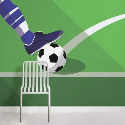 Green Football Kick Wallpaper Mural