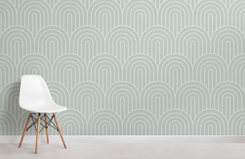 Green Geometric Infinite Loop Striped Wallpaper Mural