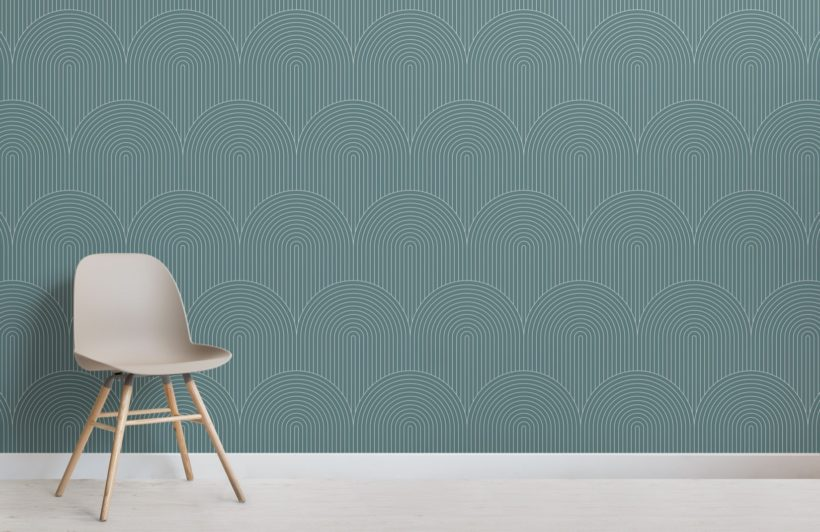 Green Geometric Thin Striped Loop Wallpaper Mural
