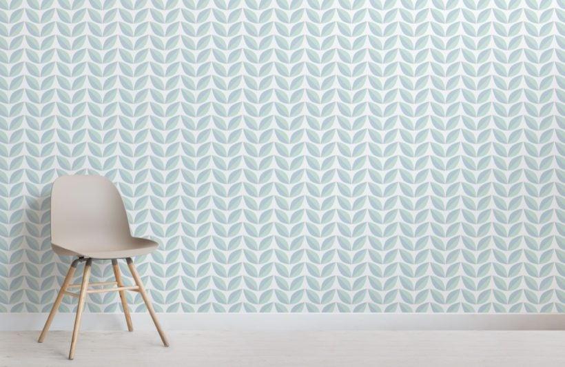 Green Retro Leaf Pattern Wallpaper Mural