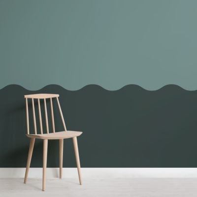Green Two Tone Wave Effect Geometric Wallpaper Mural