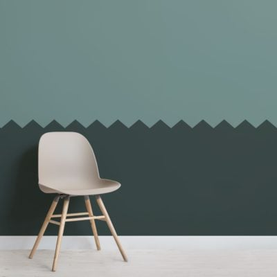 Green Two Tone Zig Zag Geometric Wallpaper Mural