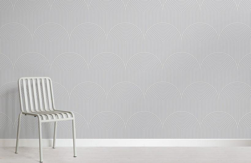 Grey Circuit Design Geometric Striped Wallpaper Mural