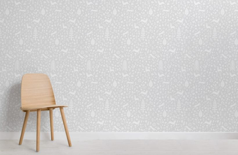 Grey Festive Pattern Scandinavian Folk Art Wallpaper Mural