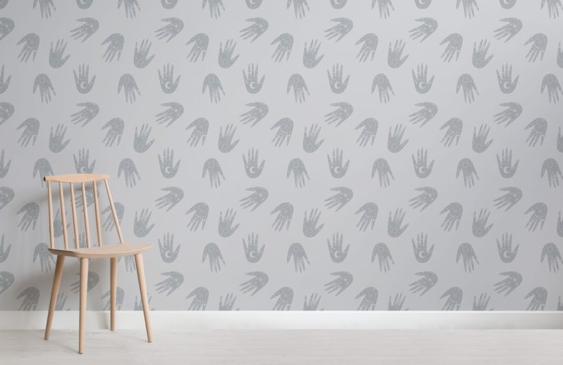 Grey Hand Pattern Cosmic Symbols Wallpaper Mural