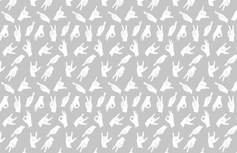 Grey Hand Sign Pattern Wallpaper Mural