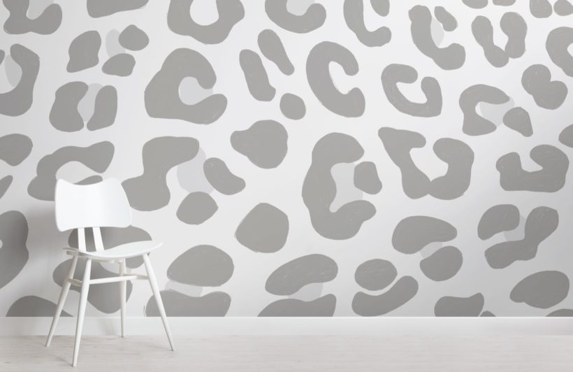 Grey Leopard Print Wallpaper Mural