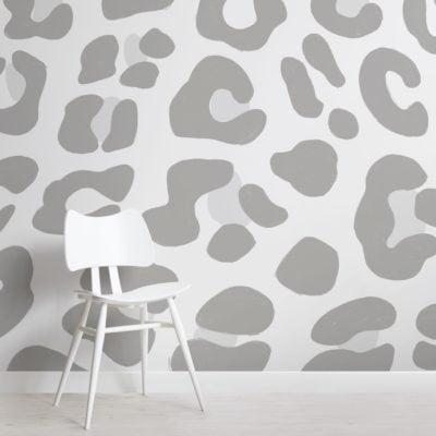 Grey Leopard Print Wallpaper Mural