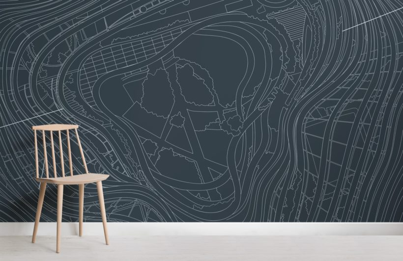 Grey Marina One Architectural Drawing Skyscraper Wallpaper Mural