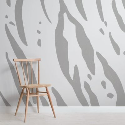 Grey Tiger Print Wallpaper Mural