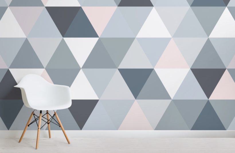 Grey and Pink Geometric Triangle Pattern Wallpaper Mural