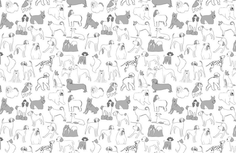Grey and White Bulldog and Sausage Dog Pattern Pet Wallpaper Mural