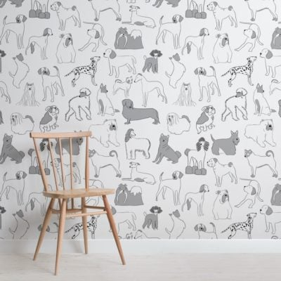 Grey and White Bulldog and Sausage Dog Pattern Pet Wallpaper Mural