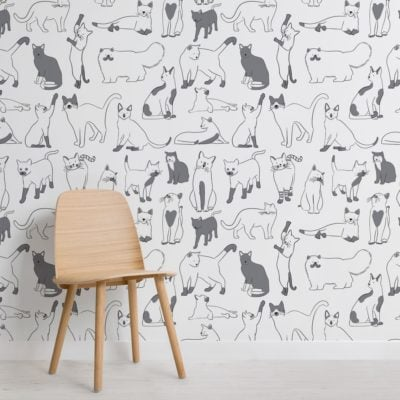 Grey and White Cool Cat Pattern Wallpaper Mural