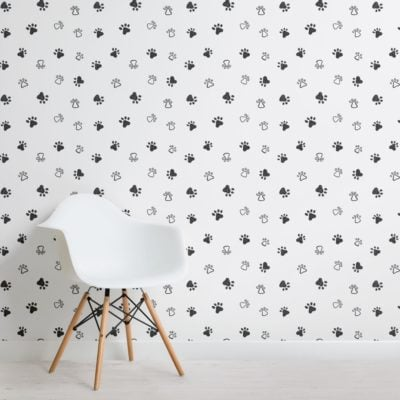 Grey and White Dog Paw Print Pattern Wallpaper Mural