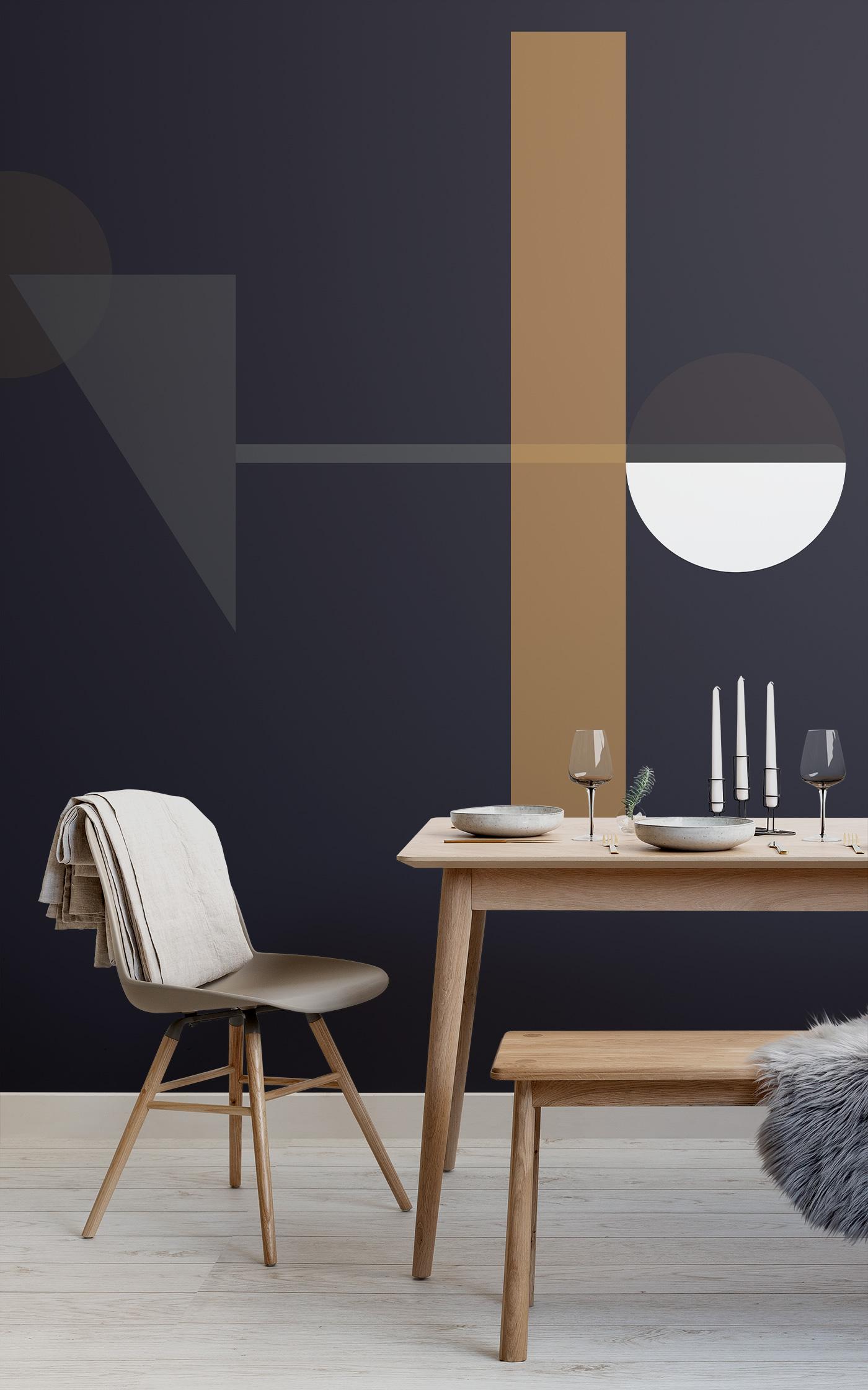 mid century modern dark shapes wallpaper mural