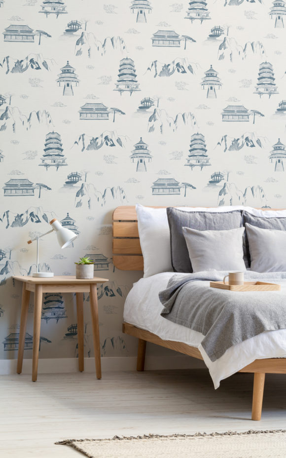 Hua Chinese wallpaper pattern in bedroom