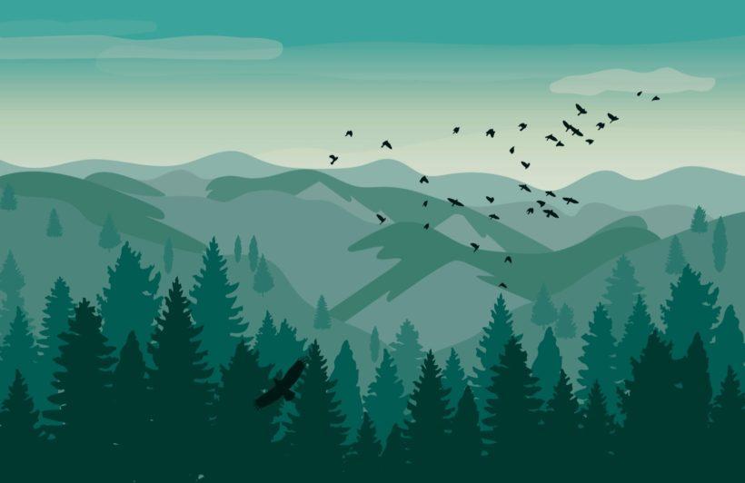 Illustrated Green Landscape Wallpaper Mural
