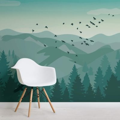 Illustrated Green Landscape Wallpaper Mural