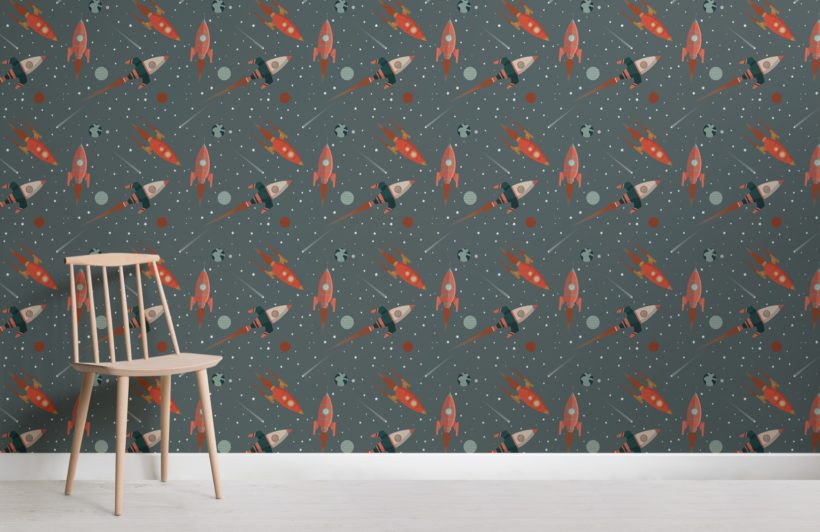 Illustrated Space Themed Rocket Pattern Wallpaper Mural