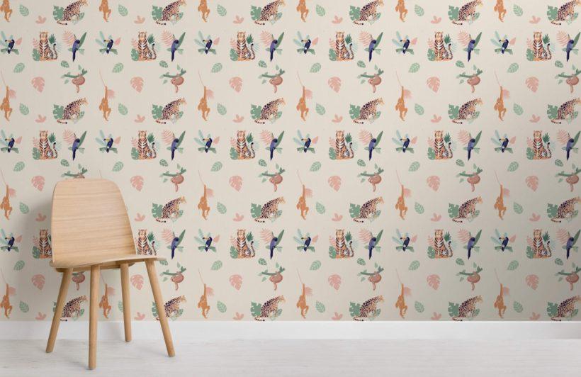 Jungle Animal and Leaves Wallpaper Mural