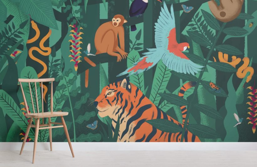 Jungle Animals Wallpaper Mural