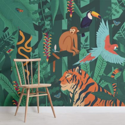Jungle Animals Wallpaper Mural Image