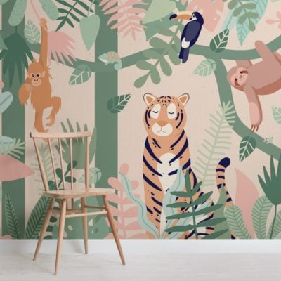 Kids Jungle Animal Friends Wallpaper Mural