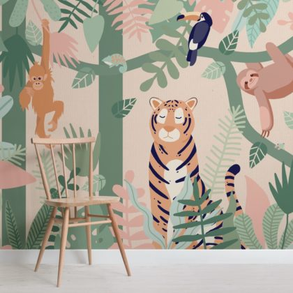 Kids Jungle Animal Friends Wallpaper Mural Image