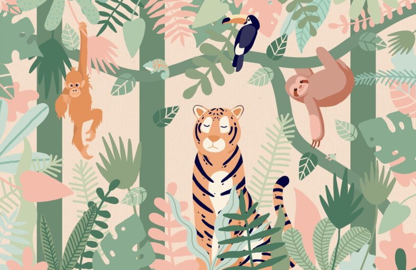 Kids Jungle Animal Friends Wallpaper Mural