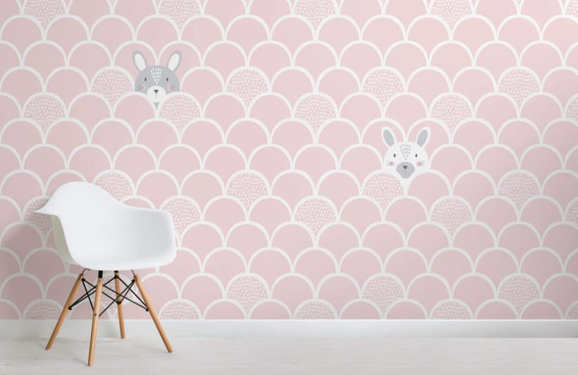 Kids-Pink-Pop-Up-Rabbits-Wallpaper-Mural