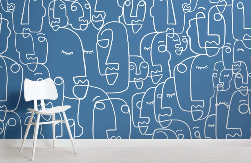 Large Blue Face Line Drawing Wallpaper Mural