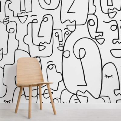 Large Face Line Drawing Wallpaper Mural