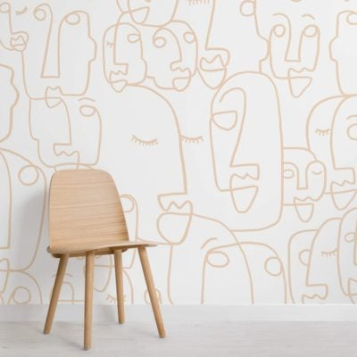 Large Neutral Line Drawing Wallpaper Mural
