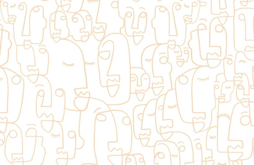 Large Neutral Face Line Drawing Wallpaper Mural
