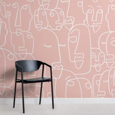 Large Pink Line Drawing Face Wallpaper Mural
