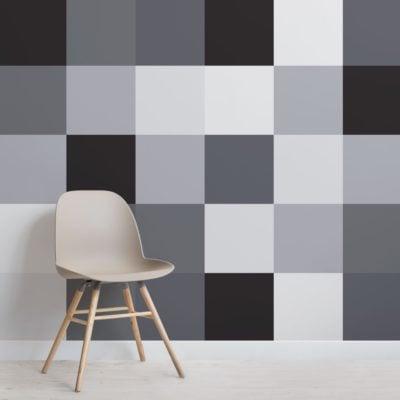 Large Grey Squares Pixel Style Wallpaper Mural
