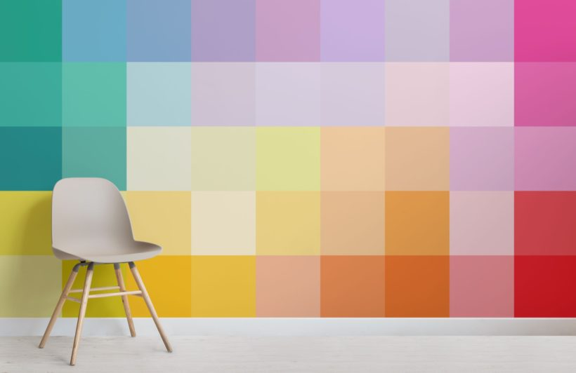 Large Multi-coloured Squares Pixel Style Wallpaper Mural