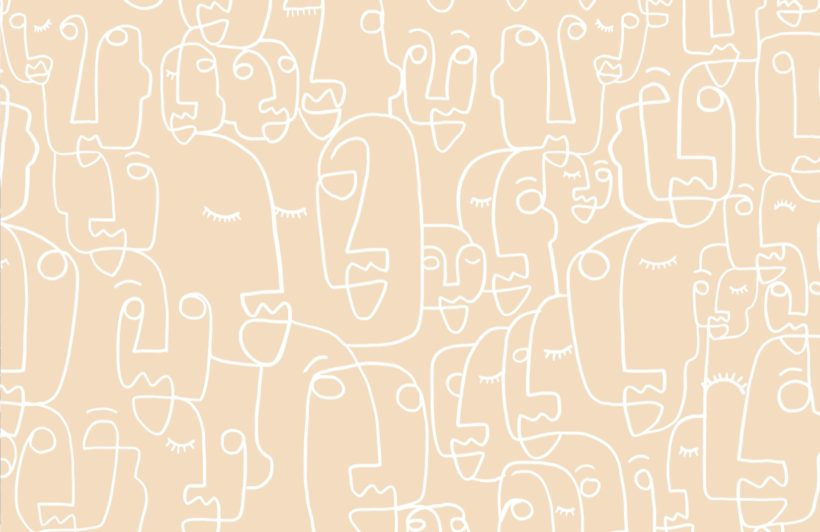 Large Neutral Face Drawing Wallpaper Mural
