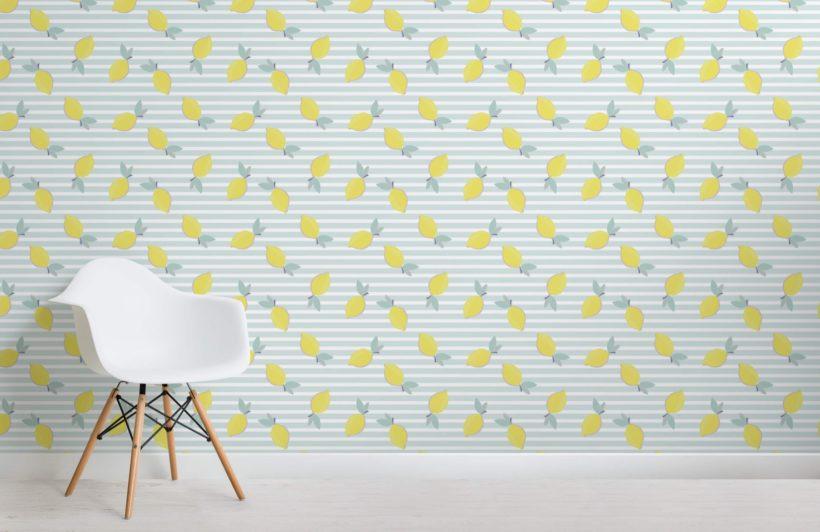 Lemons pattern wallpaper mural