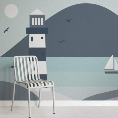 Lighthouse Beach Scene Wallpaper Mural