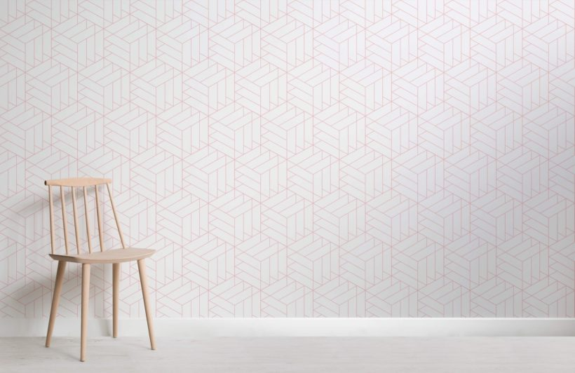 Lined Cube Geometric Modern Wallpaper Mural