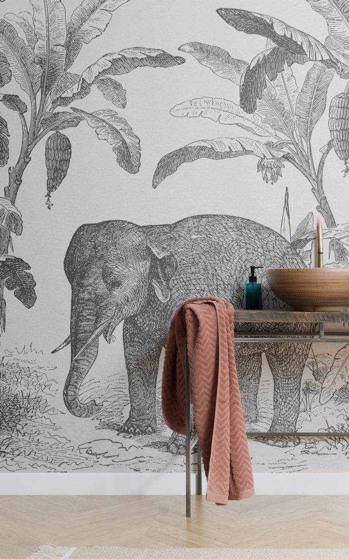 Carta da Parati Vintage con Elefante Africano in Bianco e Nero Image