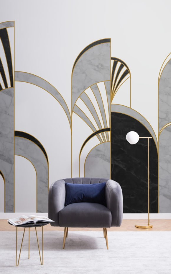 black and white art deco arches wallpaper