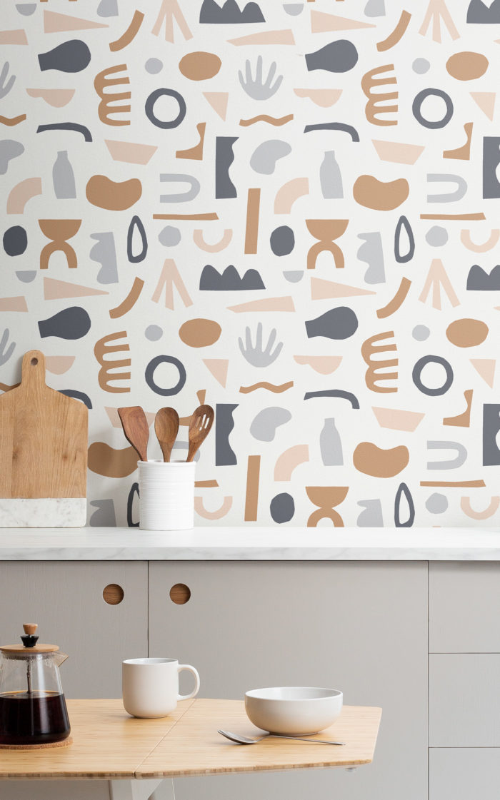 Navy and Neutral Cut Out Shape Wallpaper