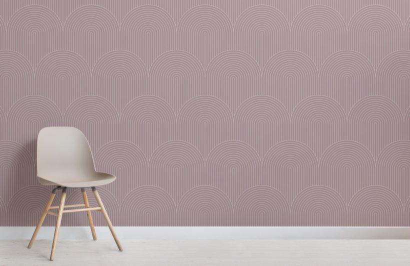 Mauve Geometric Thin Striped Loop Wallpaper Mural