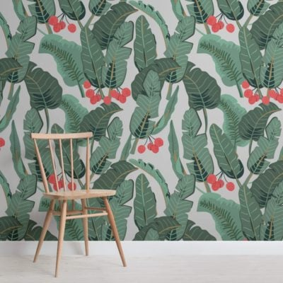 Light Grey Tropical Wallpaper Mural