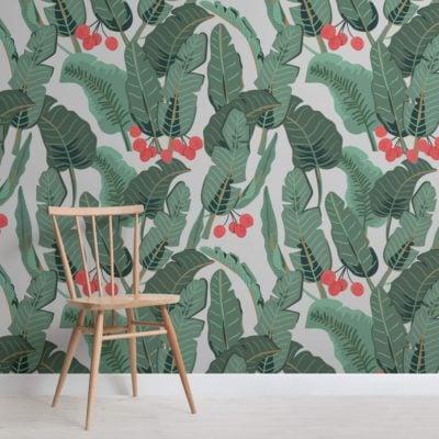 Light Grey Tropical Wallpaper Mural