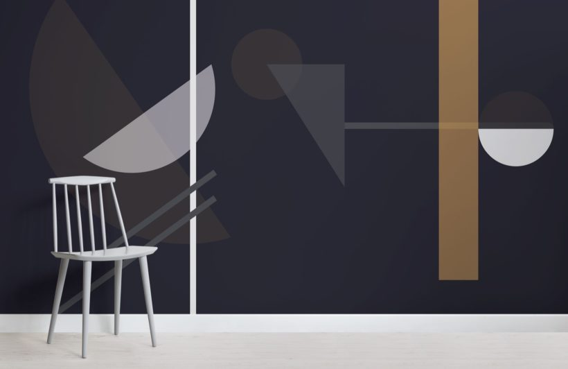 Mid Century Modern Dark Shapes Geometric Wallpaper Mural