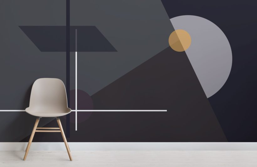Mid Century Modern Lines and Shapes Geometric Wallpaper Mural